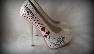 Kalpli Baskılı Gelin Ayakkabısı Modelleri
