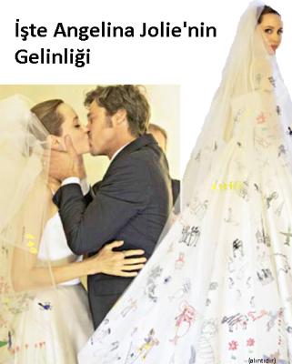 angelina gelinlik1 321x400 Angelina Jolie'nin Gelinliği